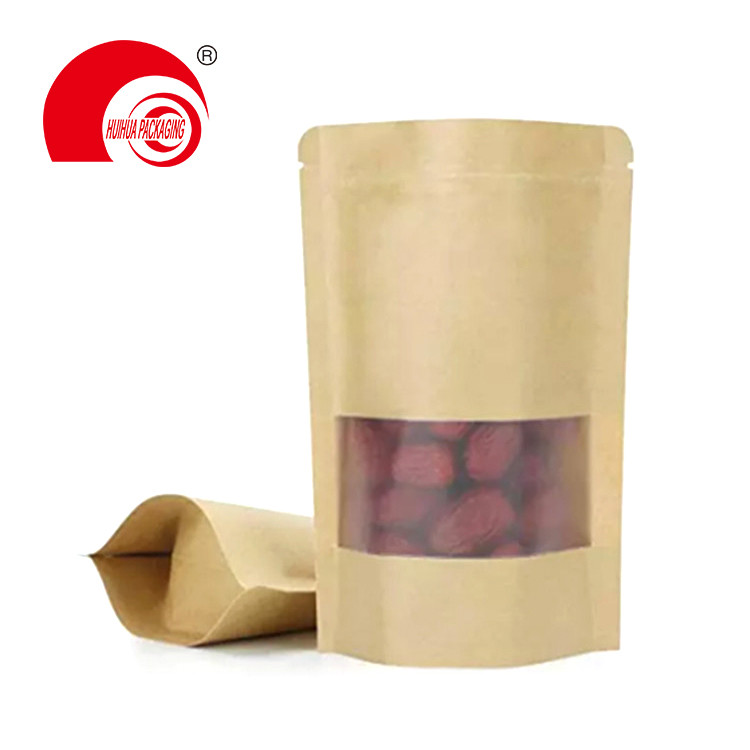 product-High Quality Food Packaging Stand Up Pouch Reusable Zipper Kraft Paper Bag with Clear Window-1