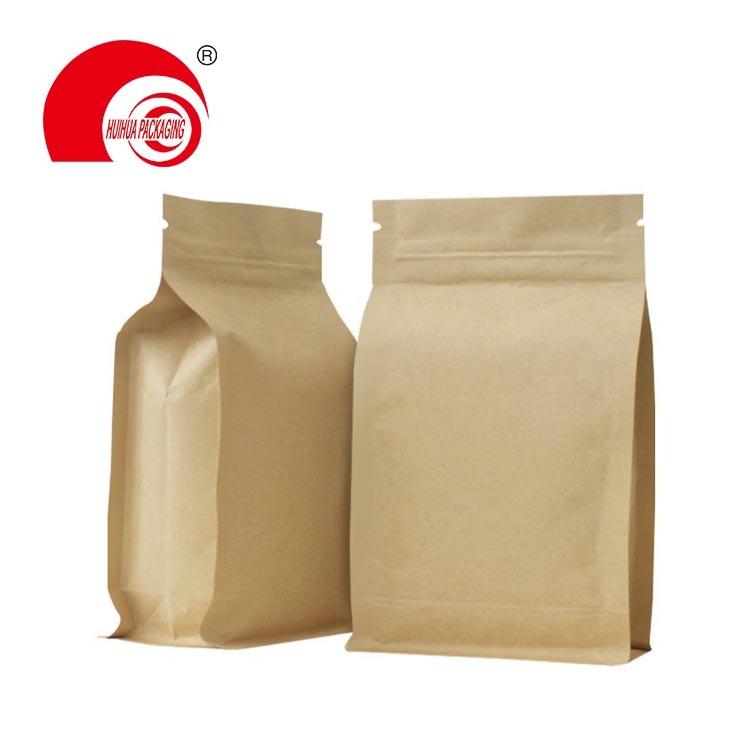 Laminated Plastic Brown Kraft Paper Ziplock Flat Bottom Bag for Dry Fruit Packaging