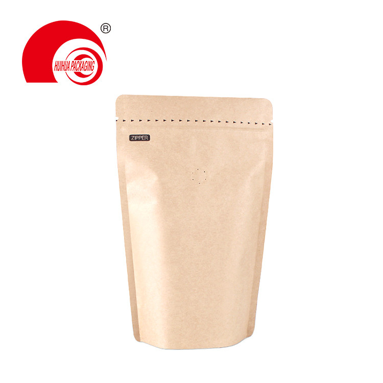 product-50g 14LBS 12 LBS 1LBS 2LBS Hot Sell Kraft Paper Stand Up Coffee Pouch with One-way Valve-Hui-1