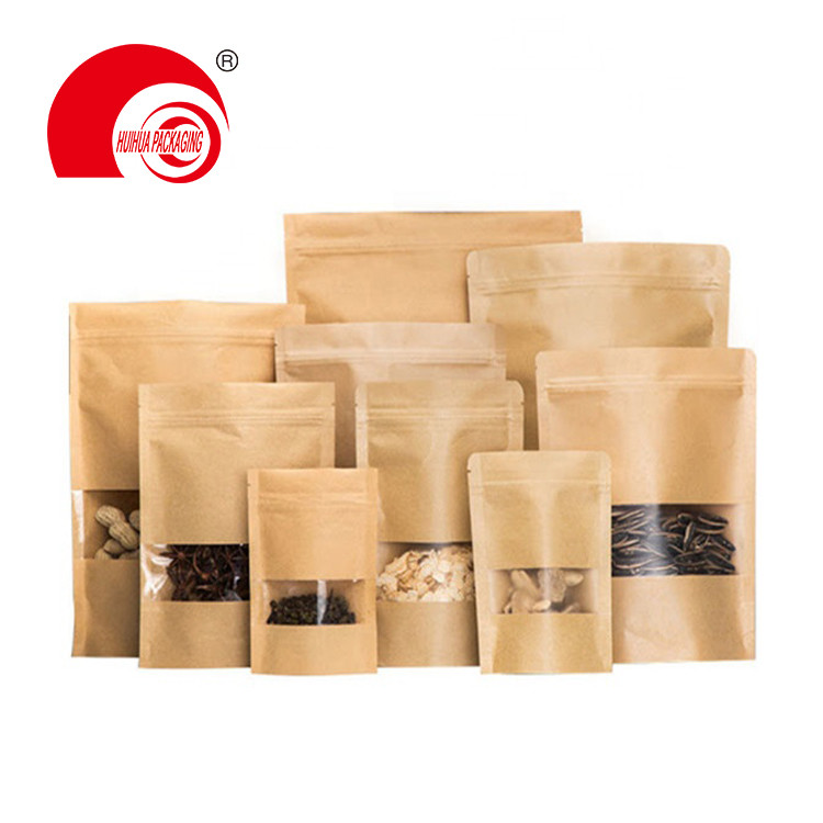Factory Wholesale Food packaging Doypack Stand Up Pouch Plain Brown Kraft Paper Bag with Clear Window