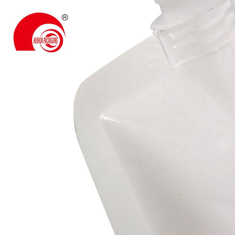 product-Hot Selling Aluminum Foil Vacuum White Spout Pouch Liquid Packaging Bag with Corner Nozzle H-1