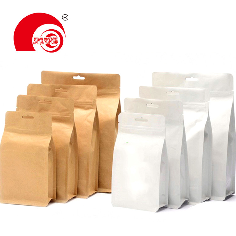 New Technology Brown Kraft Paper Flat Bottom Pouch Food Packaging Bag with Window