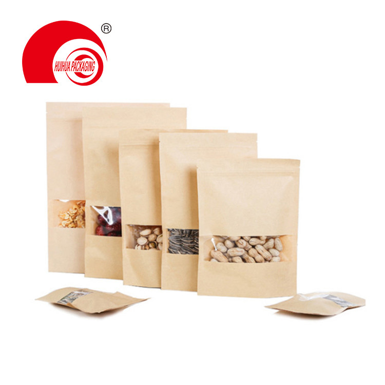 High Quality Food Packaging Stand Up Pouch Reusable Zipper Kraft Paper Bag with Clear Window