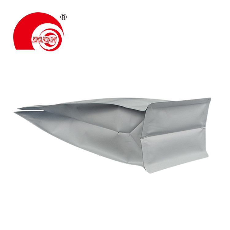 product-Huihua-Hot Sale Tear-off Zipper Matte White Aluminum Foil Flat Bottom with Valve for Coffee