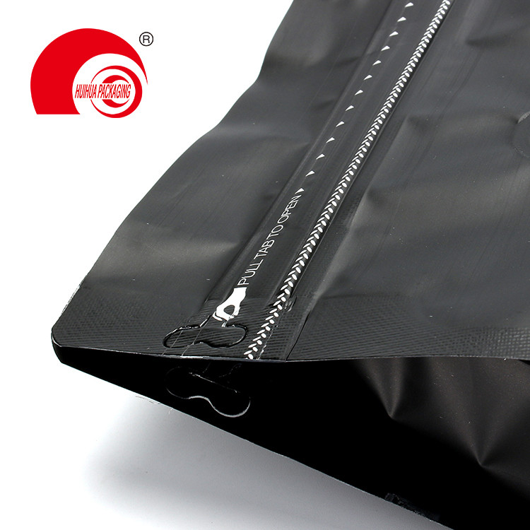 product-Huihua-High Quality Matte Black Aluminum Foil Laminated Plastic Bag Flat Bottom Pouch-img
