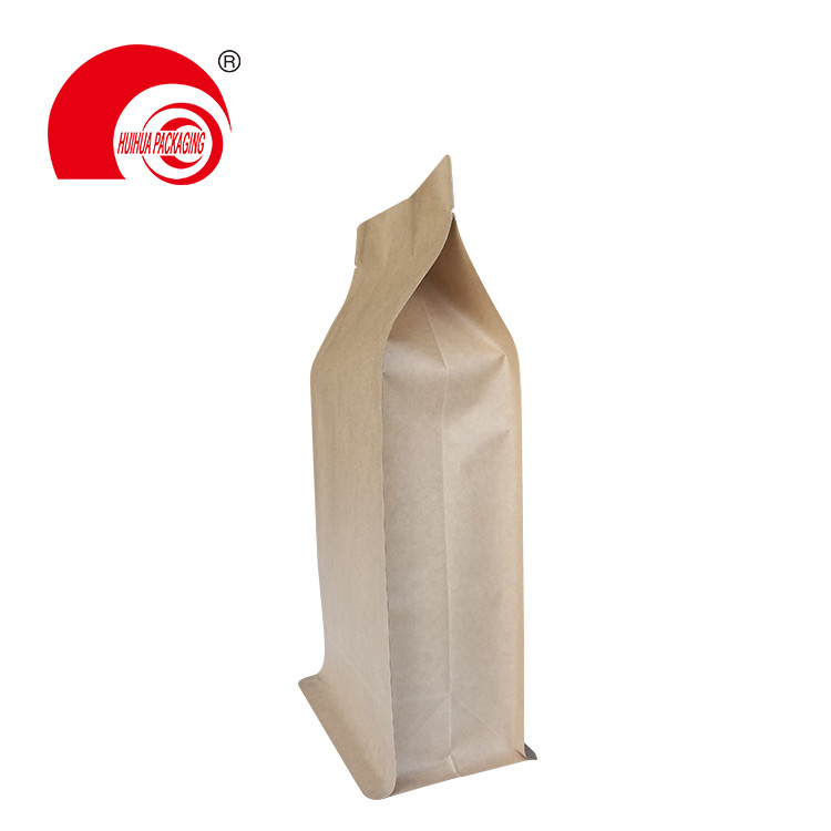 product-Huihua-Brown Craft Paper Flat Bottom Bag Coffee Bean Storage Pouch Box Bottom Packaging Bag