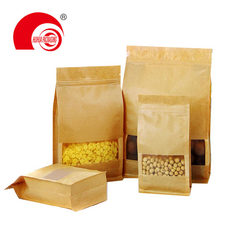 Wholesale High Quality Three-layer Laminated Brown Kraft Paper Square Bottom Pouch