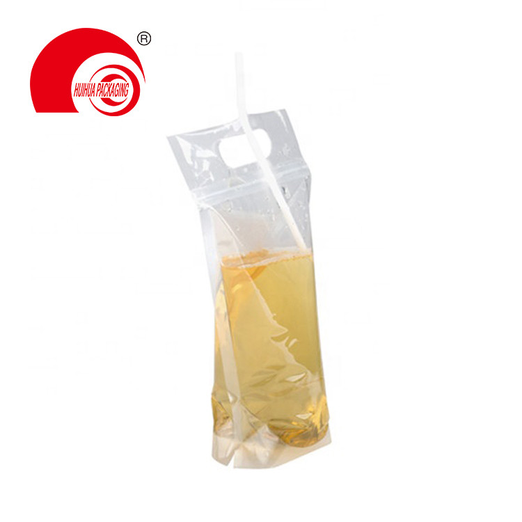 product-Hot Sell High Quality Clear Stand Up Pouch Laminated Plastic Bag with Handle for Liquid Drin-1