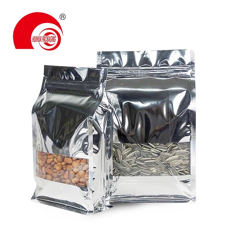 product-Glossy Gold Aluminum Foil Flat Bottom Pouch Coffee Bean Packaging Bag with Tear-off Zipper-H-1