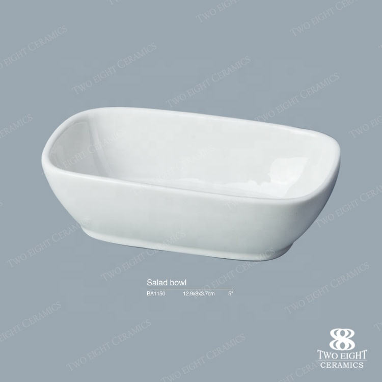 Best Selling Banquet Use Rectangle Crockery Tableware Sauce Dish, White Rectangle Soy Sauce Dish^