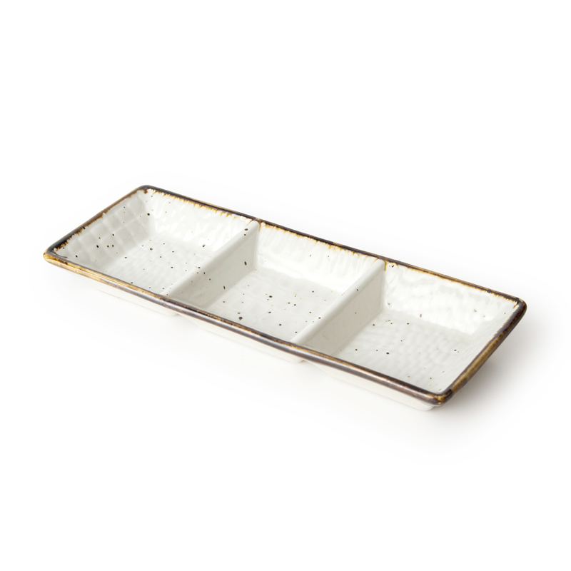 Ceramic Tableware Three Grid Dish Sushi Dish Snack Plate Dish Dessert Plate
