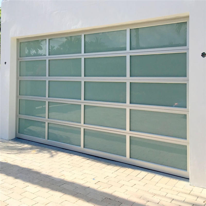 9'W*8'H Overhead lifting Electric Customized Aluminum Sectional Glass Garage Door For House