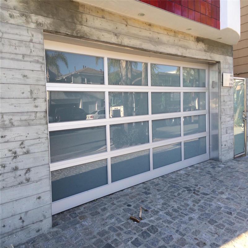 4000mmW*4850mmH Vertical Aluminum Overhead Sectional Tempered Glass Garage Door With Motor