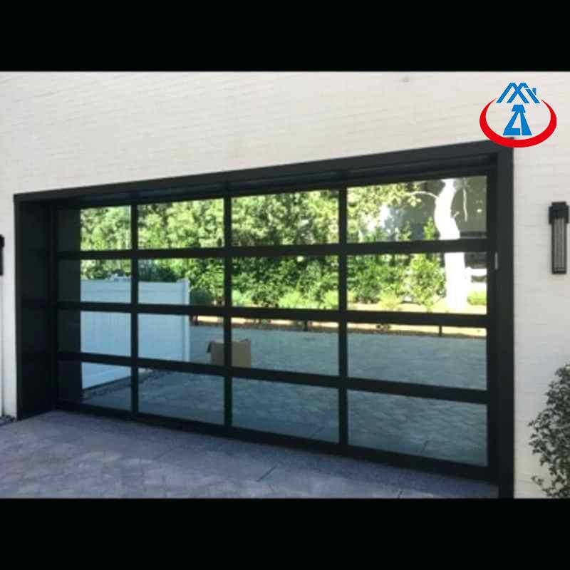 9*8 feet Transparent Modern Aluminum Glass Garage Door For sale