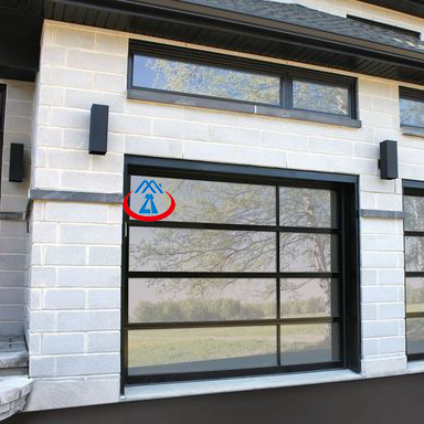 8x7 Electric Modern Aluminum Transparent Single Tempered Glass Garage Door