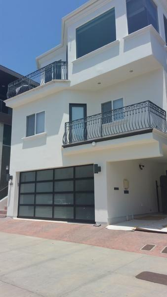 8x7 Aluminum alloy frame single tempered glass modern black garage doors