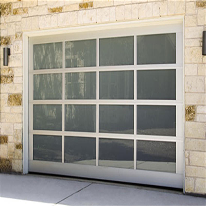 3600mmW*4850mmH Customized Overhead Electric Automatic Sectional Glass Garage Door With Motor
