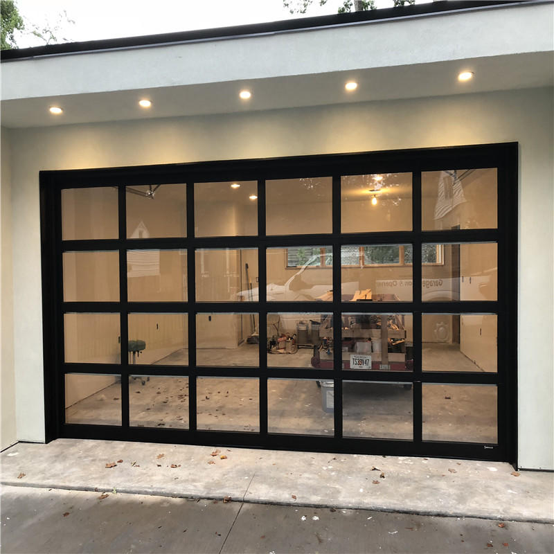 8'W*7'H Customized Overhead Electric Aluminum Sectional Glass Garage Door For House