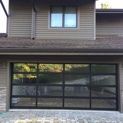 8x7 Automatic Surface Finished Aluminum Clear Glass Garage Door
