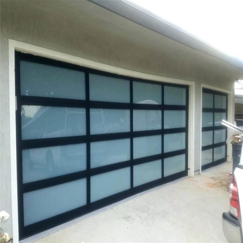 4000mmW*4850mmH Remote Control Tempered Glass Overhead Garage Door With Motor