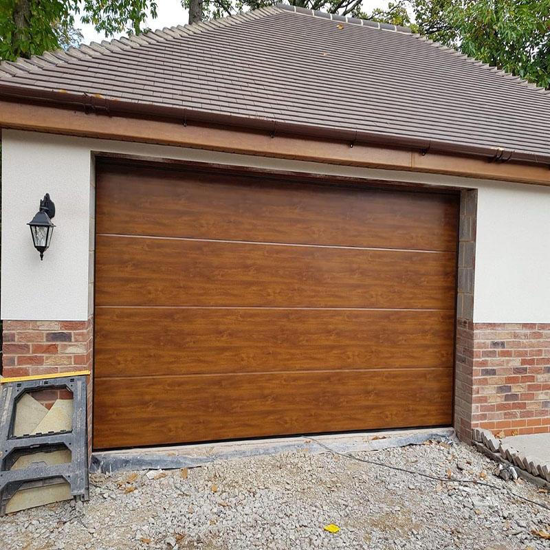 Wood Grain Color Overhead Door Beautiful Appearance Aluminum Sectional Garage Door