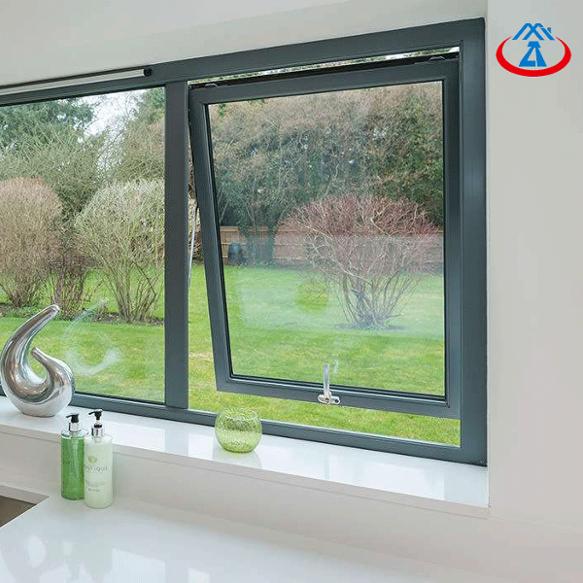 Top Aluminum Frame Tempered Glass Rainproof Hung Window
