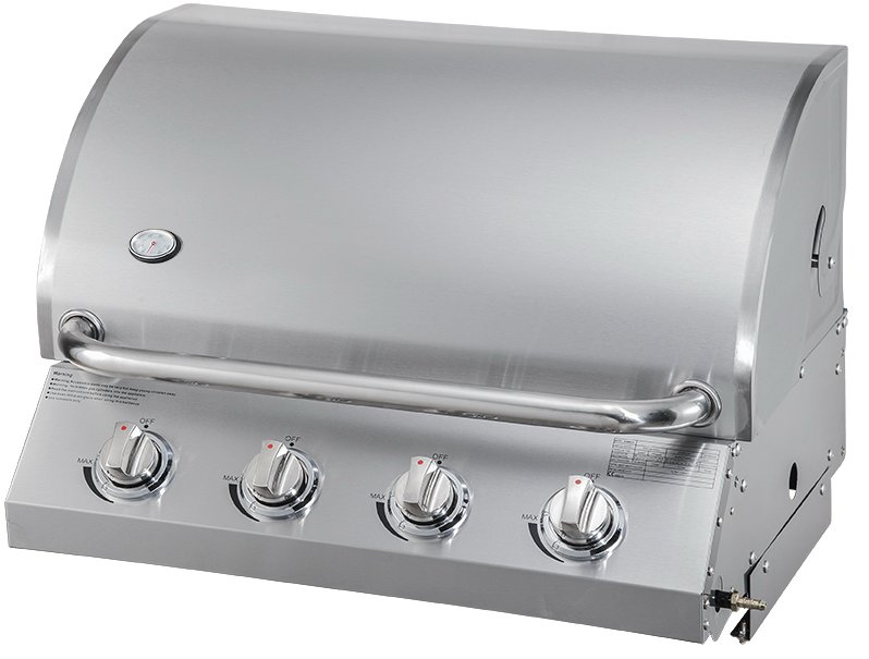 Built-in Gas Grill with 3 Stainless Steel Burners -A216S - Black