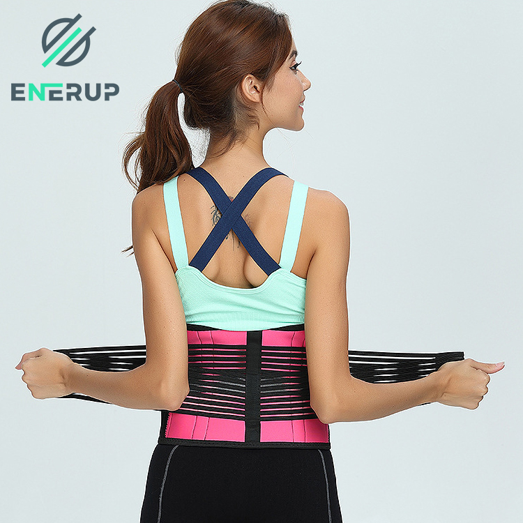 Enerup Body Shaper Double Strap Lower Back Posture Pain Belt Support Belt Fitness Breathable Waist With Trainer