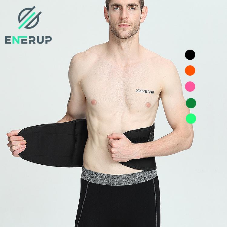 Enerup neoprene lumbar back pain brace custom private label corset wide waist support cushion sweat belt trainer shaper