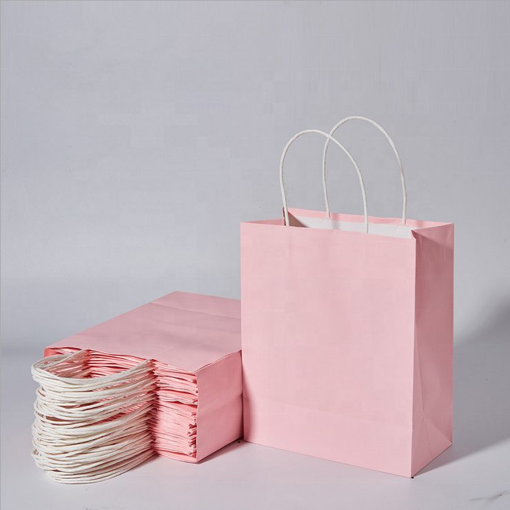 Wholesale Personalized Custom Clothing Store Kraft Paper Blank Pink Shopping Bag Gift Gag