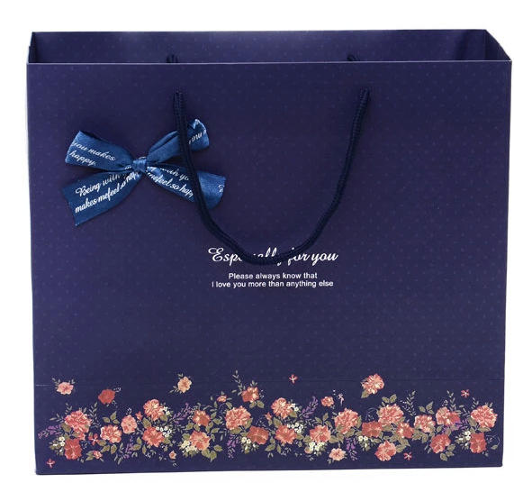 Whole Custom Elegant Recycling Blue Starry Sky Paper Bag With Handles