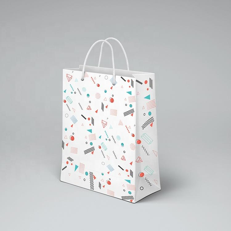 CMYK Printing Gift Bag White Kraft Shopping Paper Bags With Handle