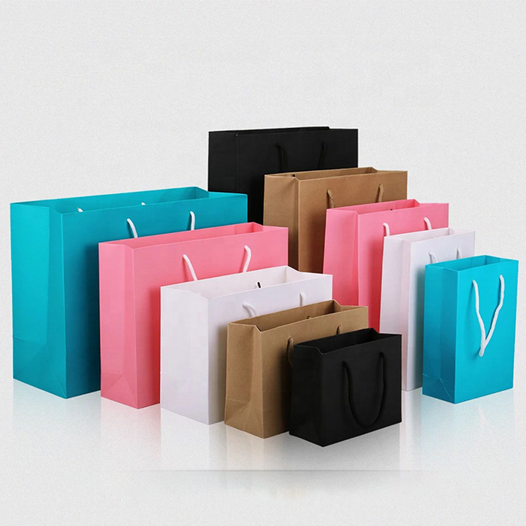 Custom Printed Shopping Recycle Carry Treat Paper Bags Packing Christmas Wine Paper Gift Bag In Bulk