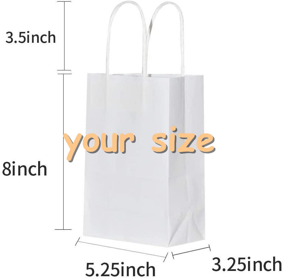 Large 12 inch white kraft paper flower paper bag for plants with your own logo