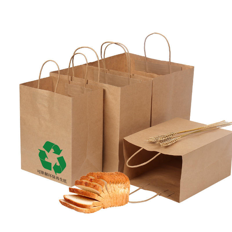 Degradable and environmentally friendly recycled paper bags sandwich bread food paper bag