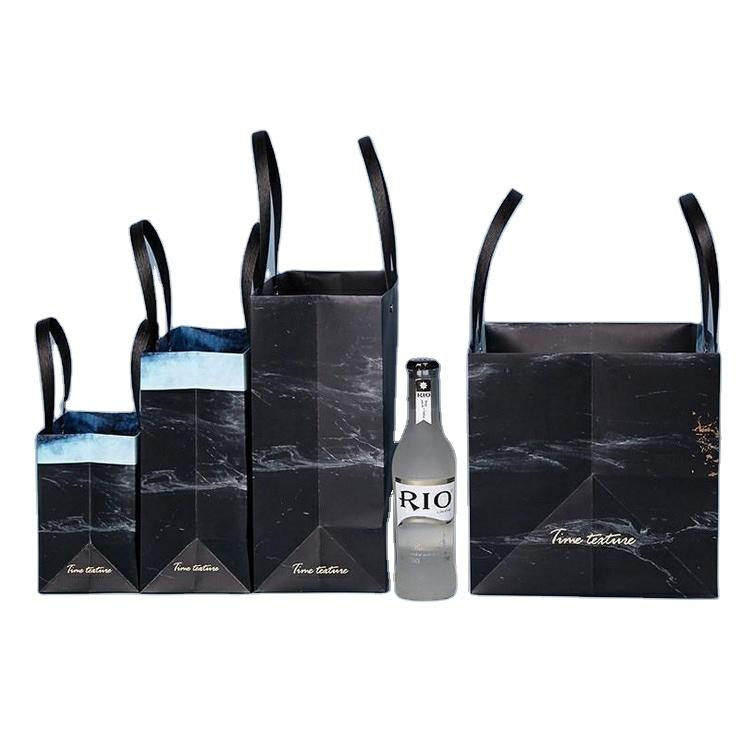 Biodegradable Waterproof Paper Bag Marble Design Stone Paper Bag For Shopping And Gift