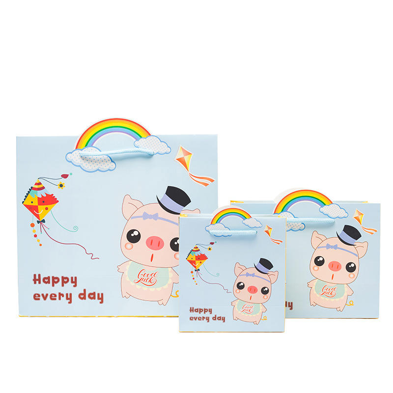 product-Dezheng-Eco-Friendly Cute Greaseproof Carrier Shopping Paper Pouch Bag for Baby Gift Paper B-1