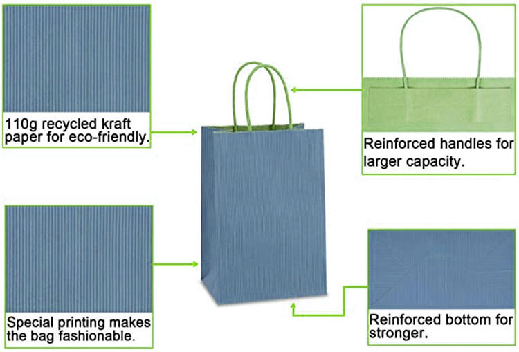 Elegant blank custom made special blue paper wigs packaging paper bags with your logo