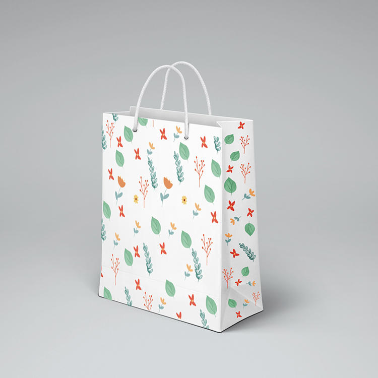 Slogan Customized Paper Bag Floral Gift Paper Bags Apparel Shopping Bag With Paper Handle