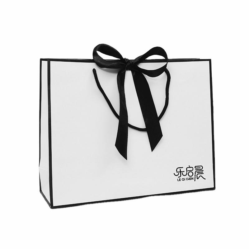 Elegant design blank black and white ribbon shopping costume paper bag with bow