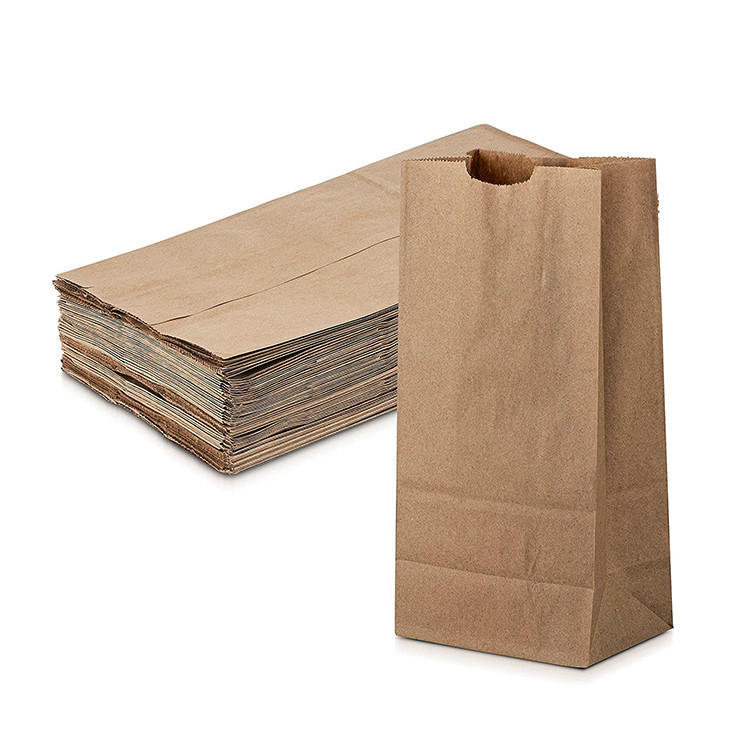 Recyclable paper bags raw material brown kraft popcorn bakery bread paper bag with discount