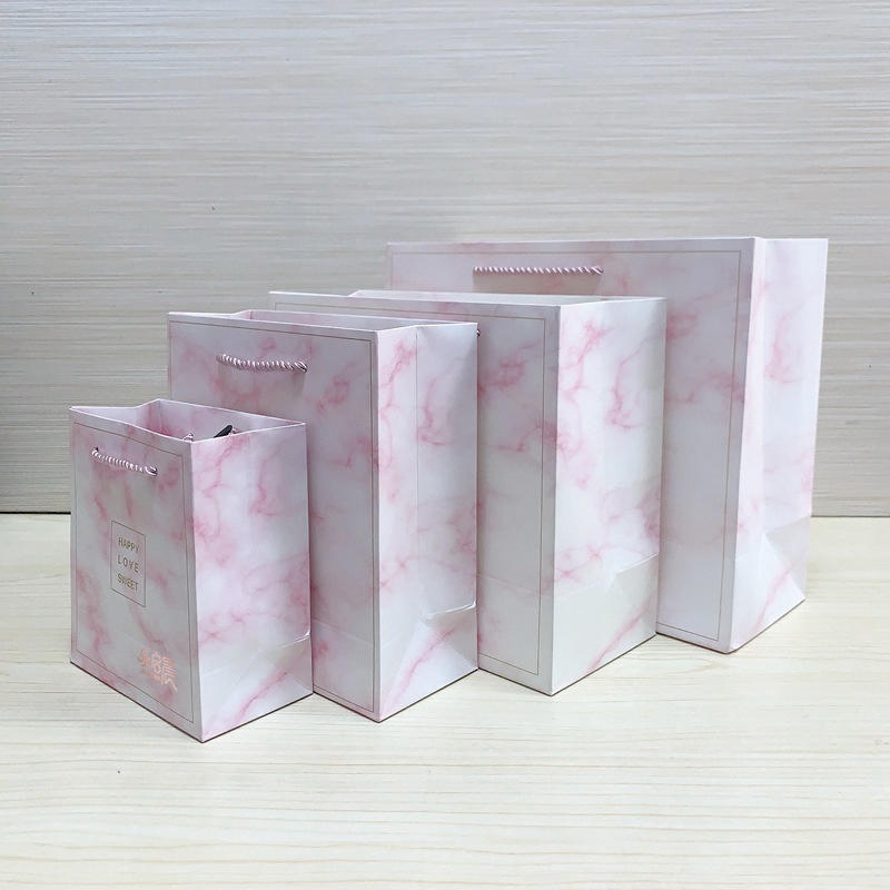 Wholesale manufacturer bulk all sizes custom logo 8x4x10 giftmarble paper bag with handles