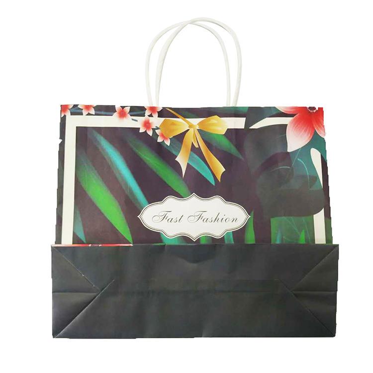 Guangzhou Gift Shopping Bag Elegant Green Rainforest Style Flower Paper Bag With Logo Print
