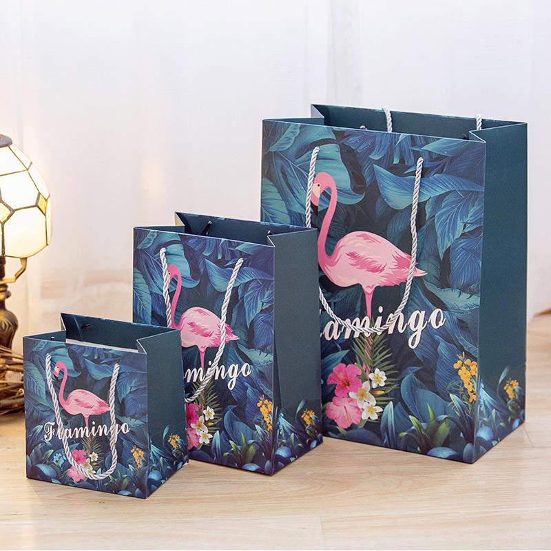 China Retail Shopping Bags with Logos Gift Flat Craft paper Flamingo Gift Paper Gift Bag