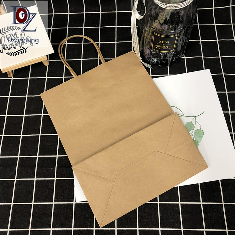 Guangzhou Factory Coffee Bag Custom Kraft Brown Paper Bag With Handle