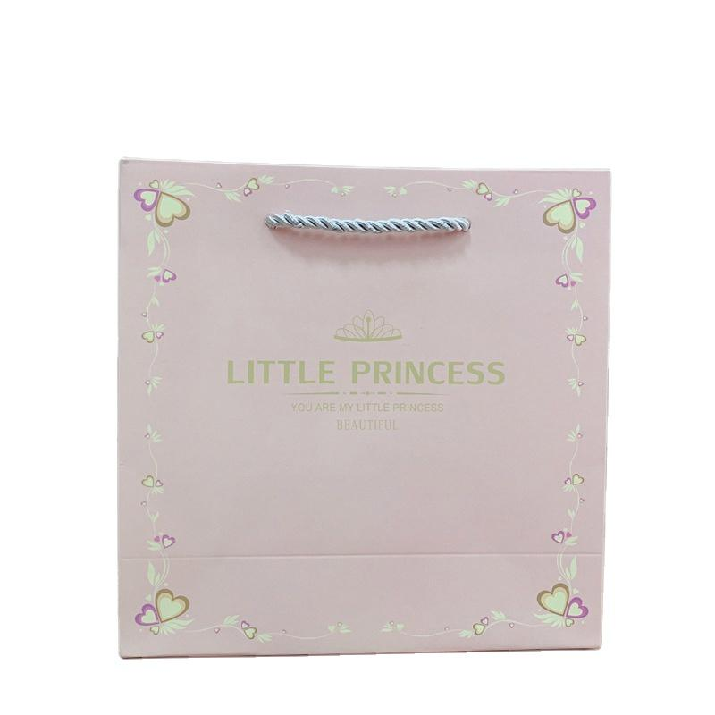 Little Princess Little Prince Gold Stamping Custom Design Pink Gift Paper Bag with Handles for Baby Shower