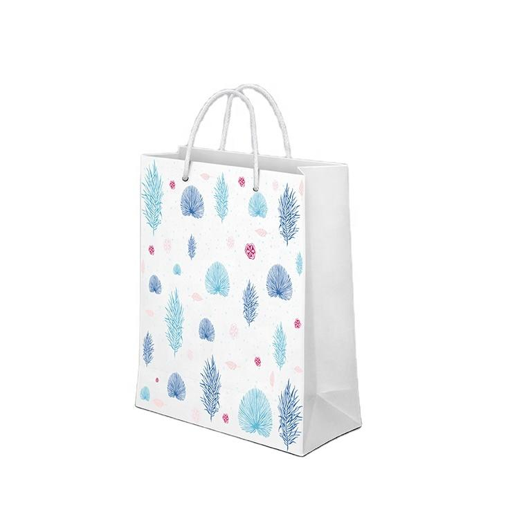 Floral Printed Packaging White Kraft Gift Craft Shopping Paper Bag With Handles