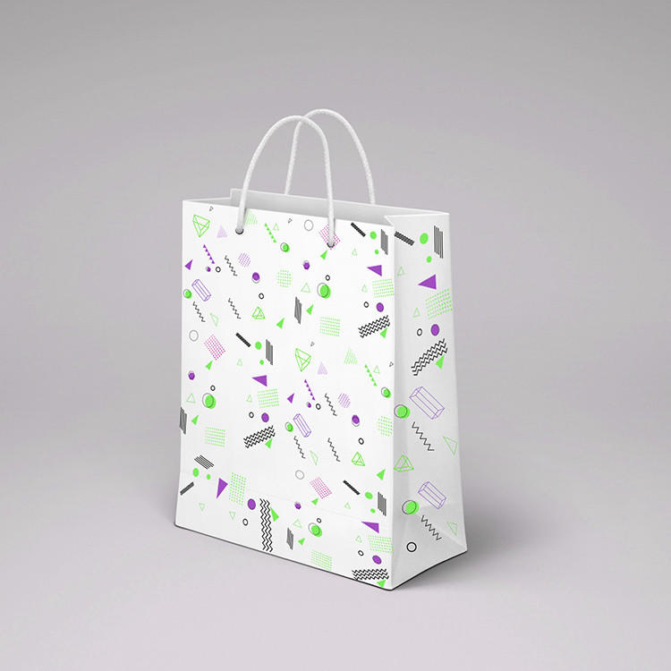 Small paper gift bags custom your logo printed white kraft paper wedding paper bag with handle