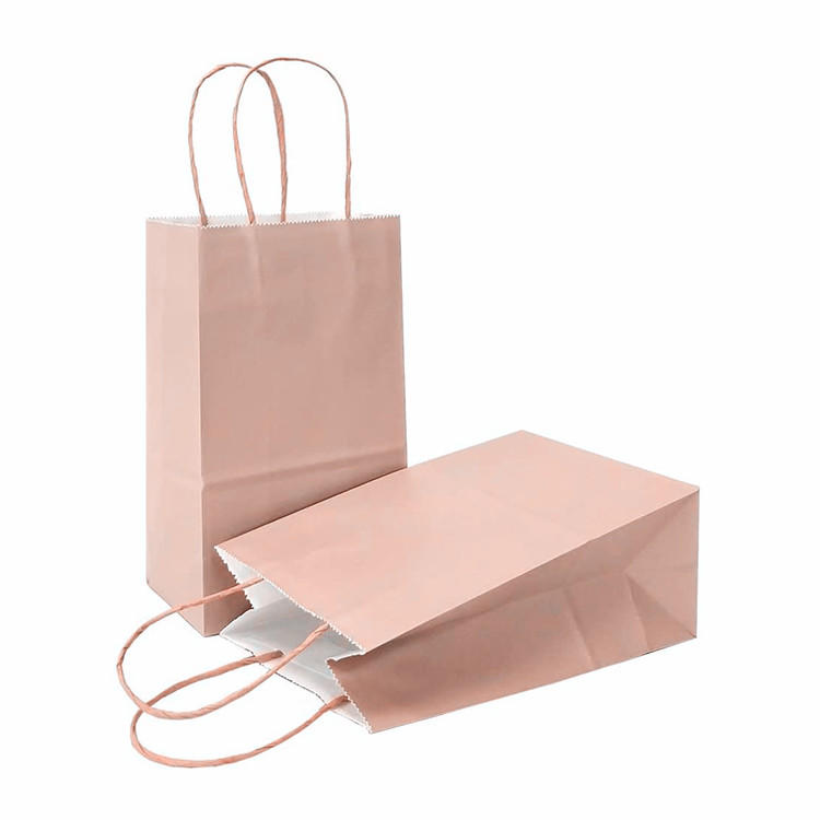 Hot sale plain cheap brown box bottom paper coffee bags with cotton rope handles