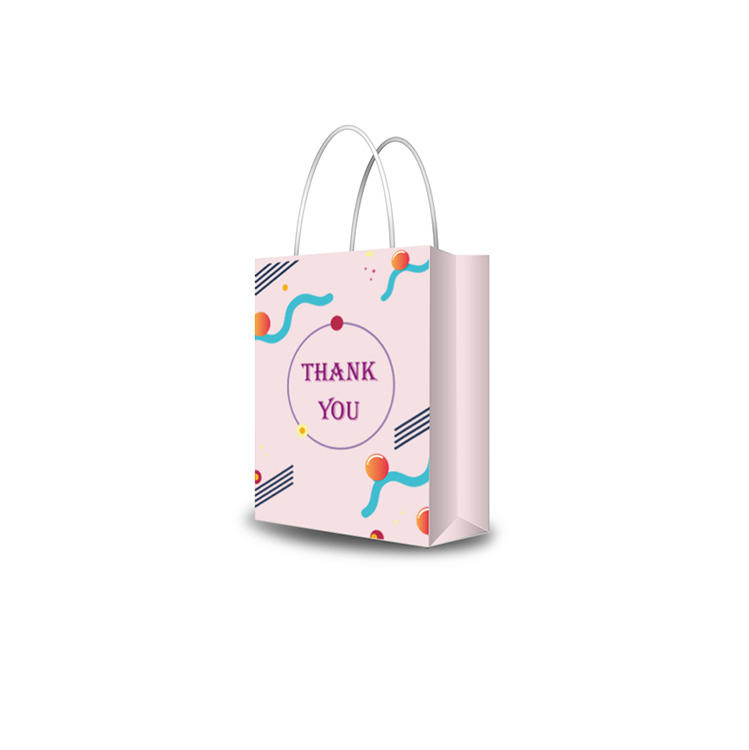 Custom printed colorful customizsed pink paper bags for pants clothing packaging